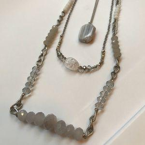 Loft Silver 3 Strand Long Necklace